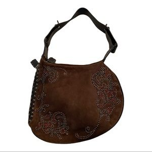 Fendi vintage suede embroidered saddle bad